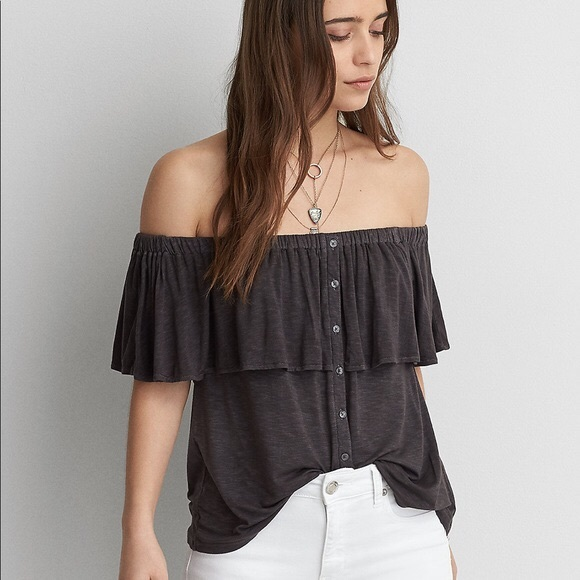 39150f93a8437 American Eagle Outfitters Tops - AEO Soft   Sexy Slub Off The Shoulder Gray  Shirt